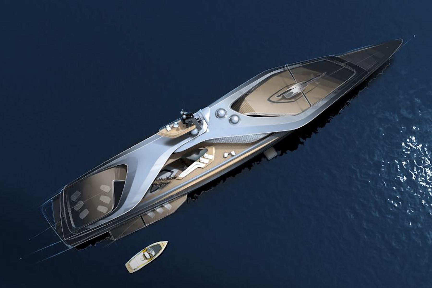 Aerial render of superyacht Kairos
