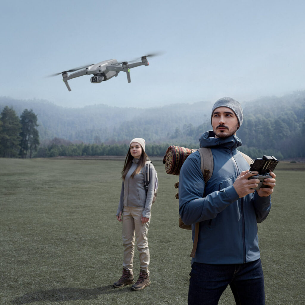 man operating the DJI Air 2S