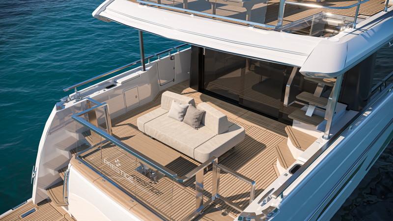 close up of aft deck onboard Prestige X60