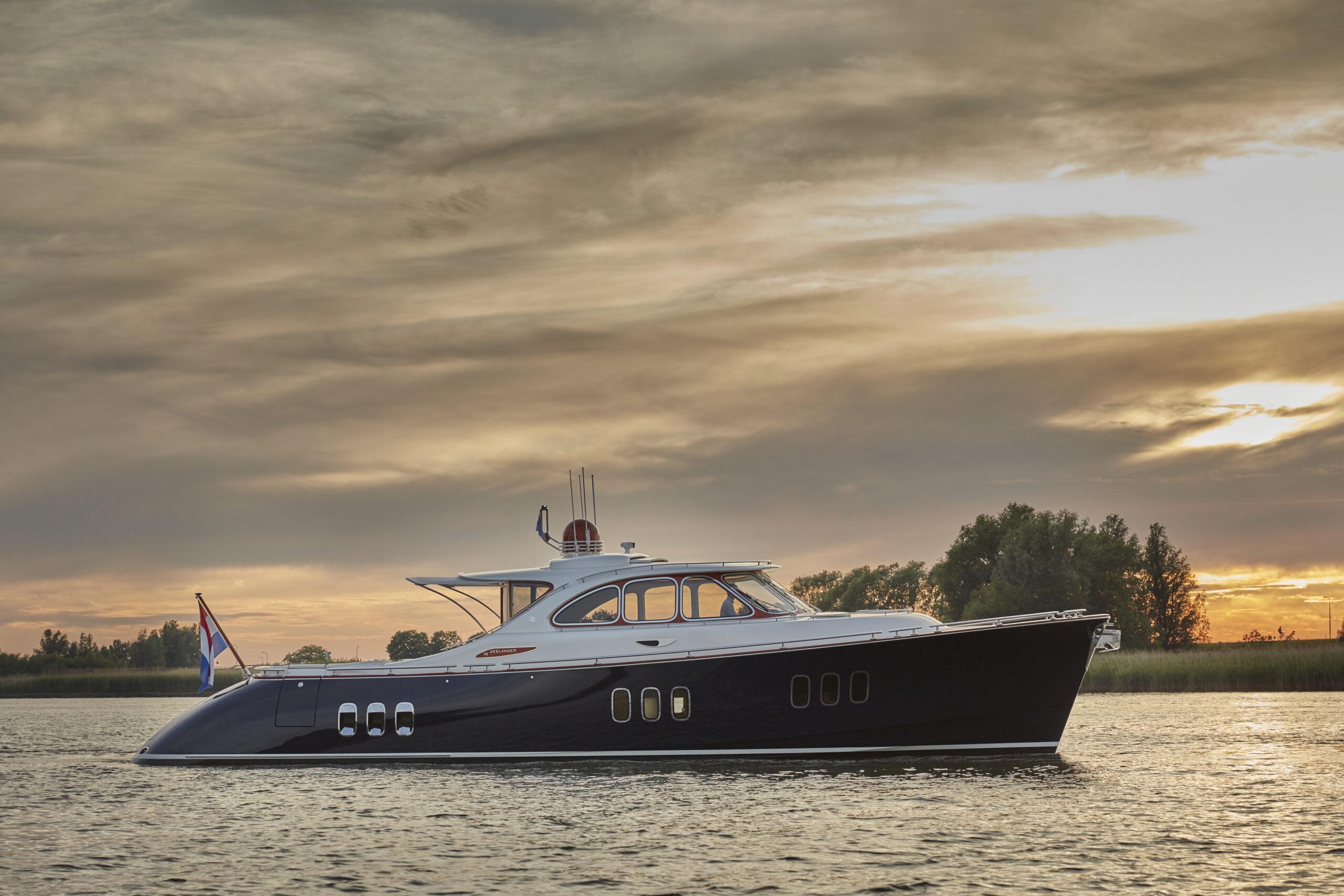 Zeelander Z72 anchored with sunset in background