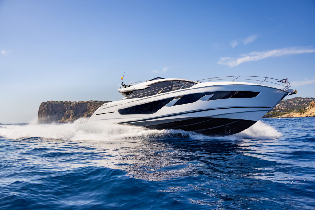 Sunseeker 65 Sport cruising at speed pictured from right