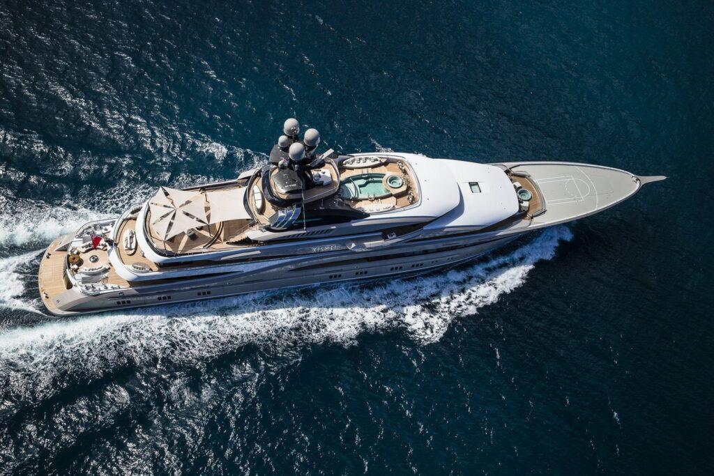 Lurssen yacht from above cruising