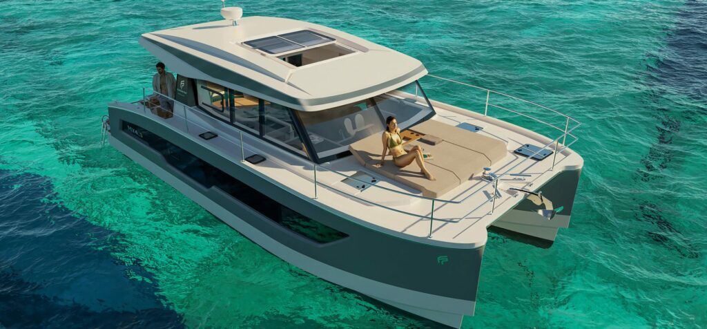 Fountaine Pajot MY4.S anchored from front angle