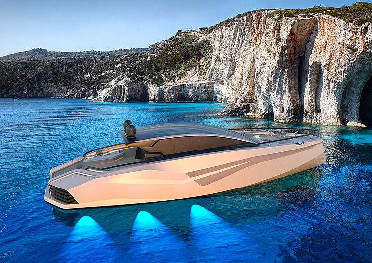 Azurite Yacht Design Infint-e 88 anchored side profile