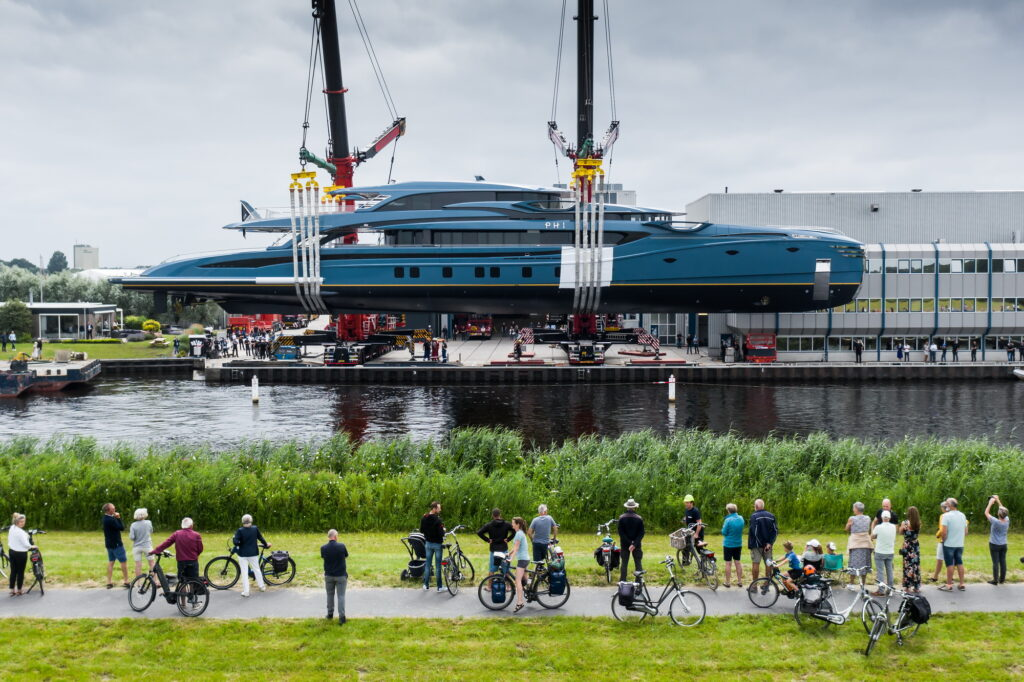 Royal Huisman's project PHI being launched with spectators