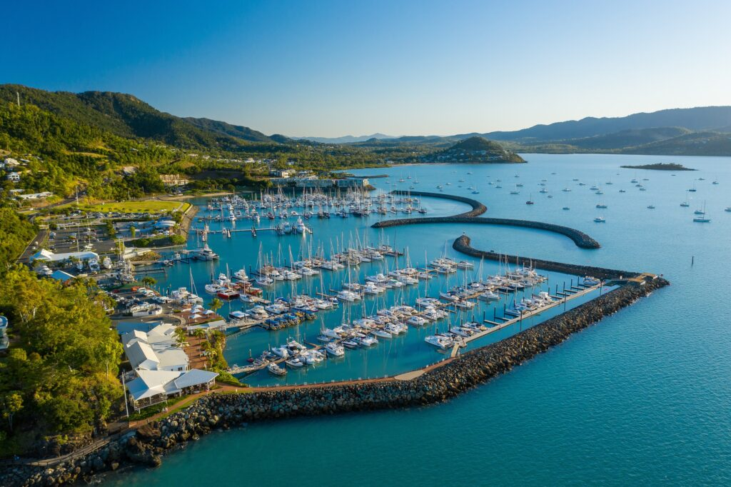 Coral Sea Marina Resort from above on a sunny day