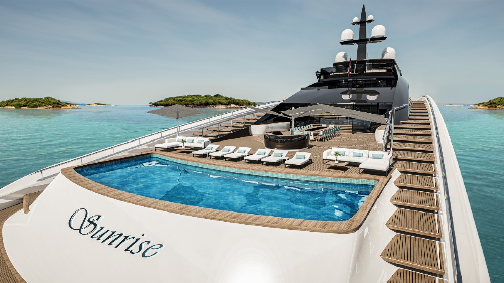 wide angle of pool and bathing deck onboard Sunrise from Roberto Curto Design