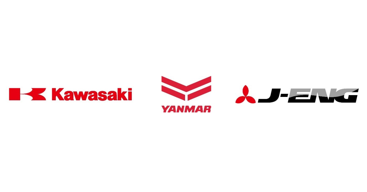 logos for collaboration between Kawasaki, YANMAR and the Japanese Engine Corporation