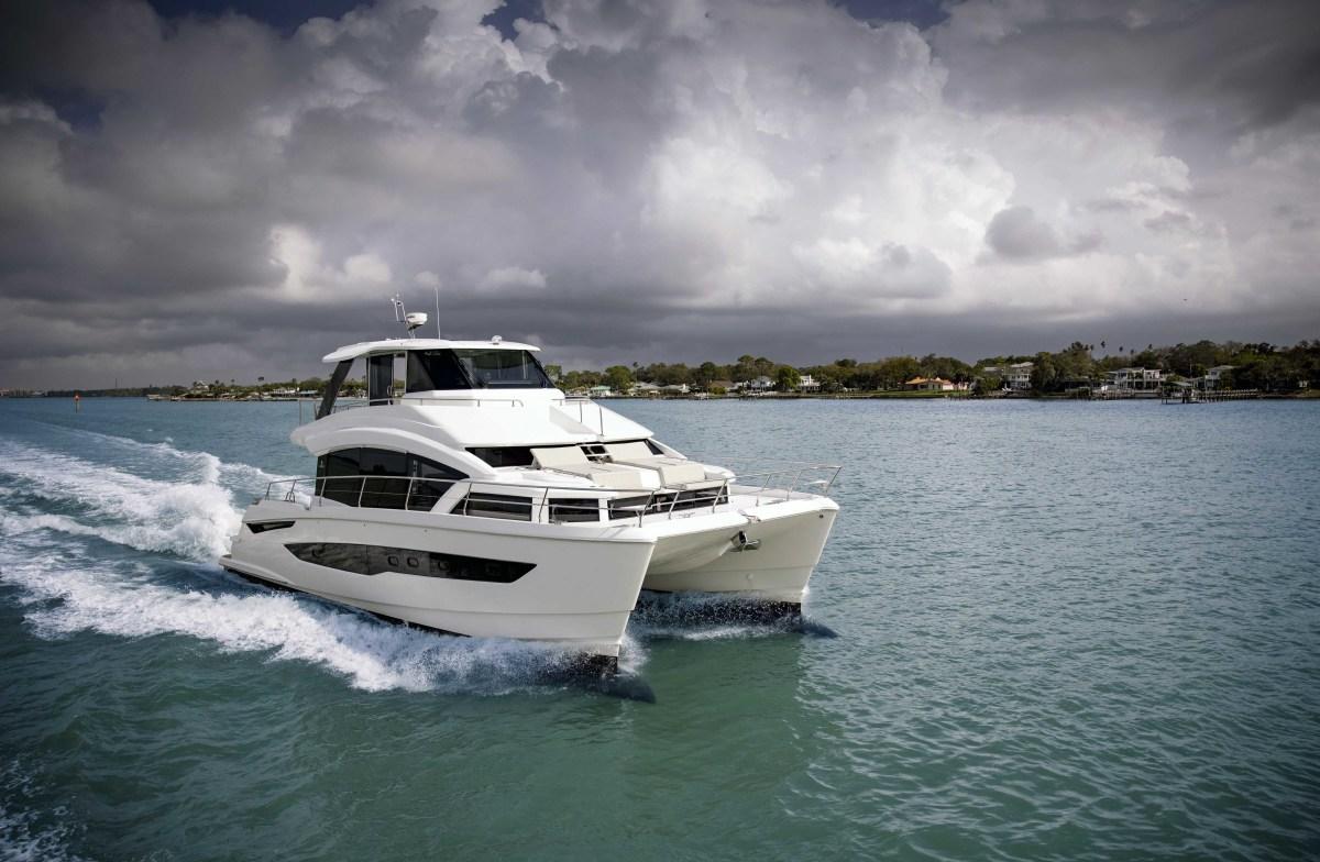 Aquila power catamaran pictured cruising in the Bahamas