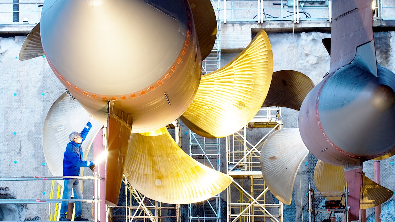 ABB Azipod propulsion system being worked on by mechanic
