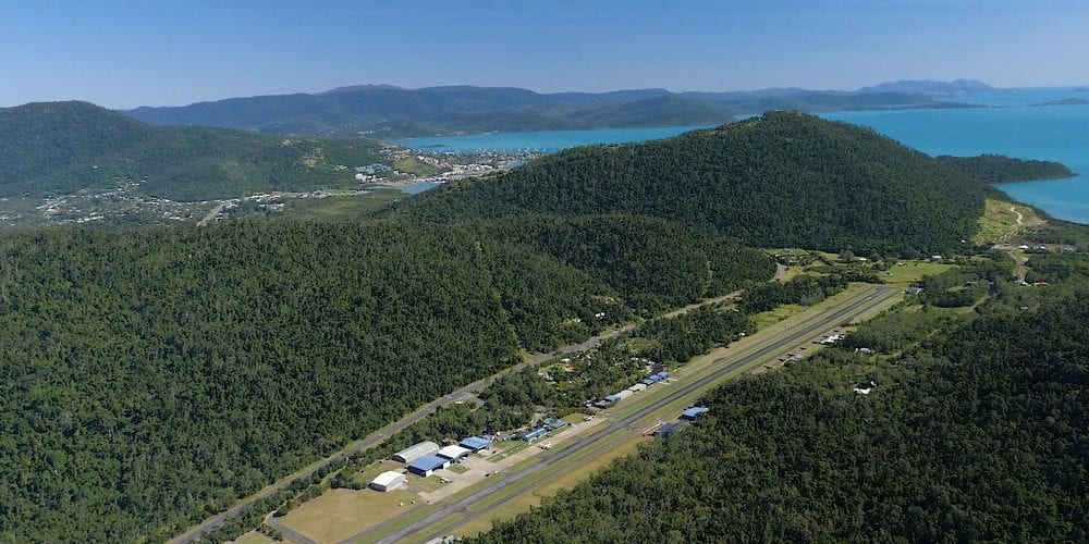 aerial shot of Whitsundays Airport