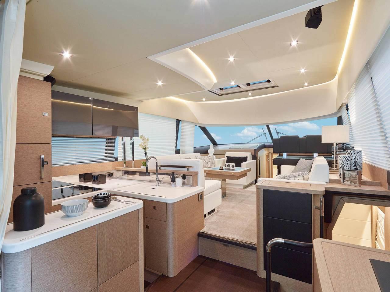 Interior shot onboard a Prestige Yacht