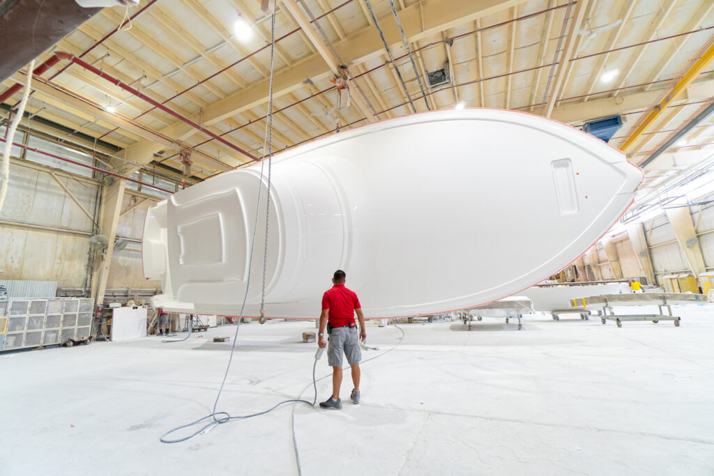 Viking Yachts 54C in construction