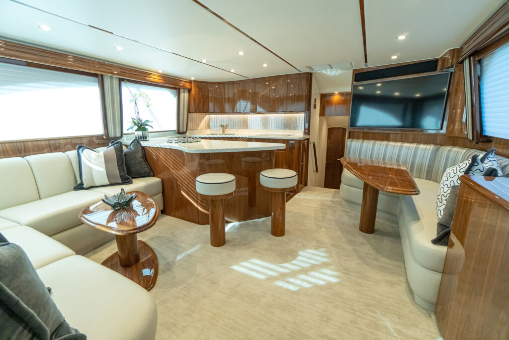 lounge area onboard Viking 54C