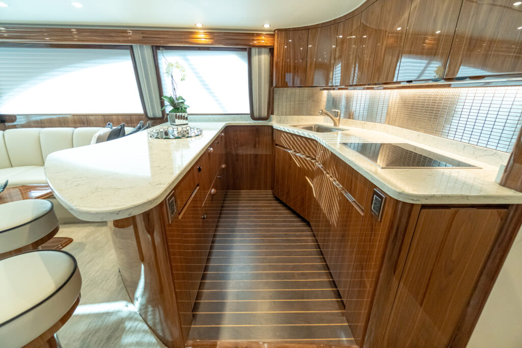 kitchen area onboard the Viking 54C