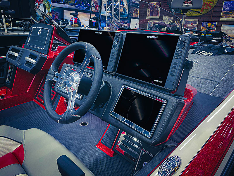 Interior of boat showcasing collaboration between Lowrance and White River Marine Group