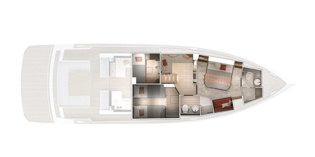 Pardo GT52 lower deck plan view