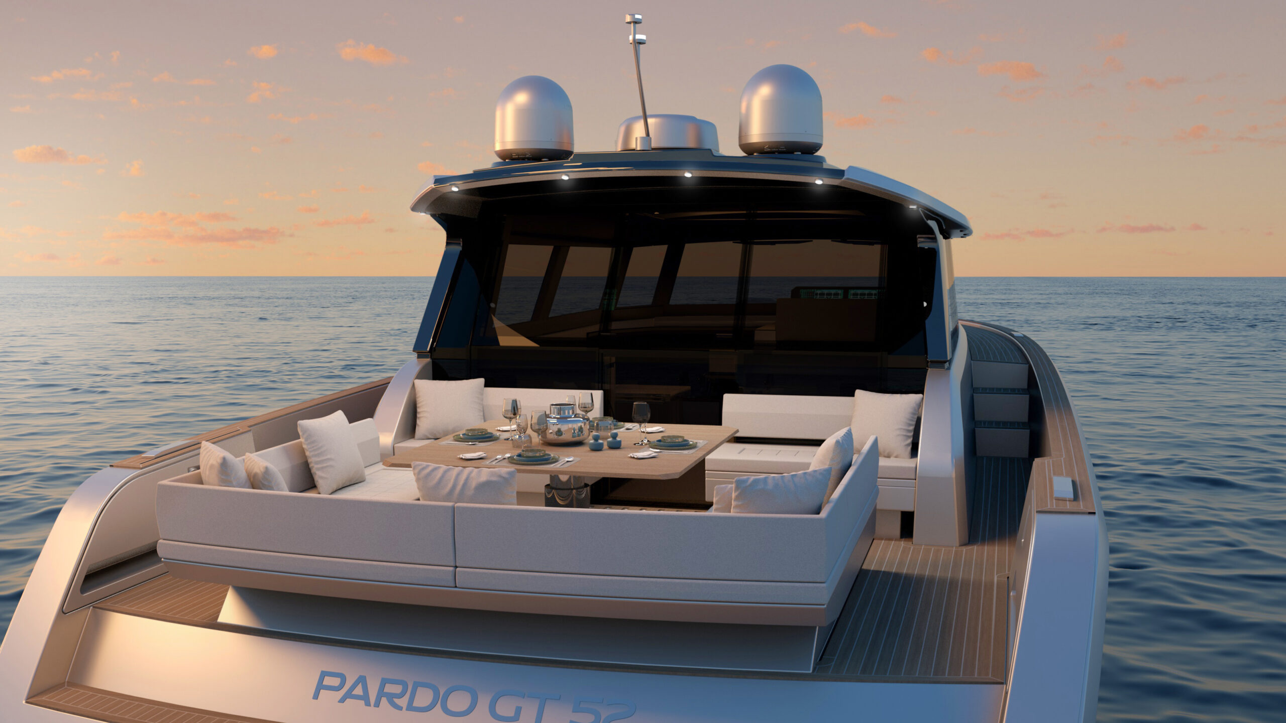 Pardo GT52 from rear with sundeck set as table