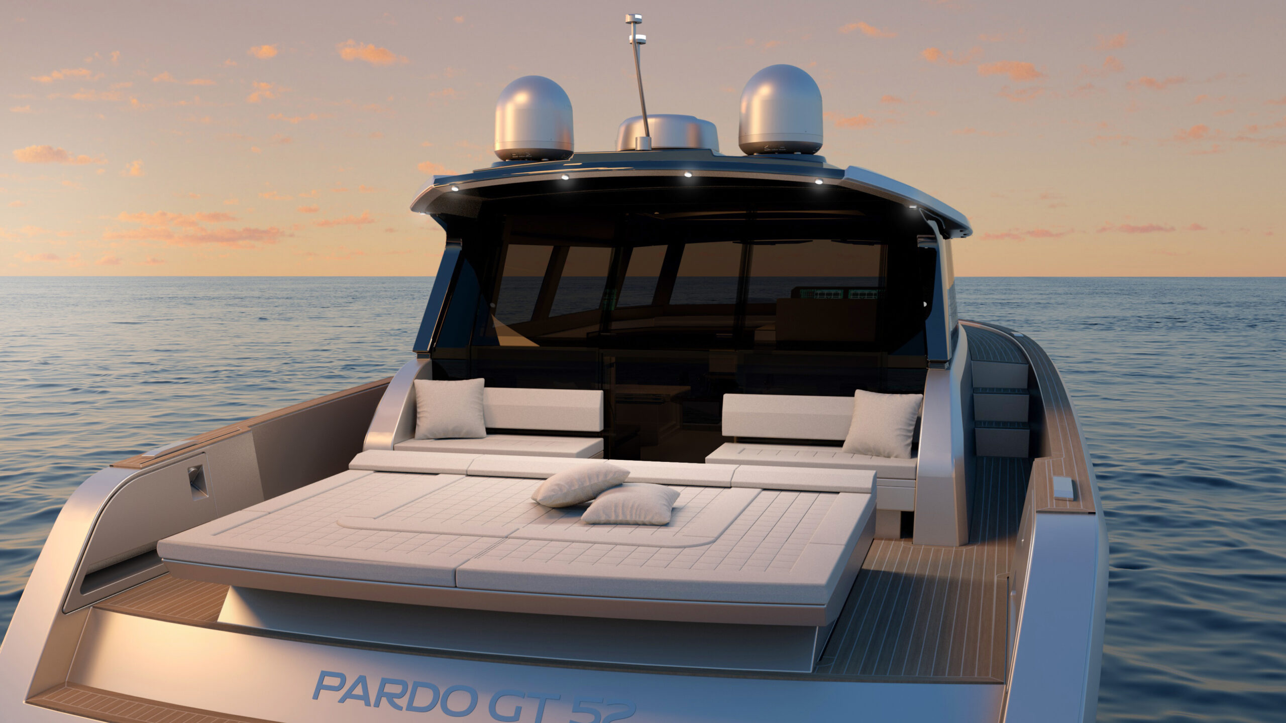 Pardo GT52 from rear with sundeck set as loungers