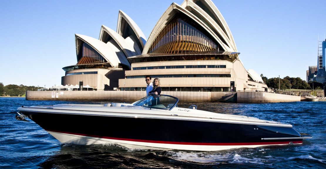 Premier Marine boat anchored in front of the Opera House
