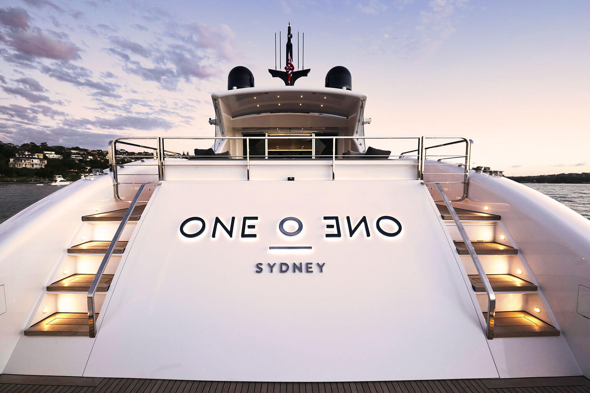 Close up of the back of the One O One Charter Yacht