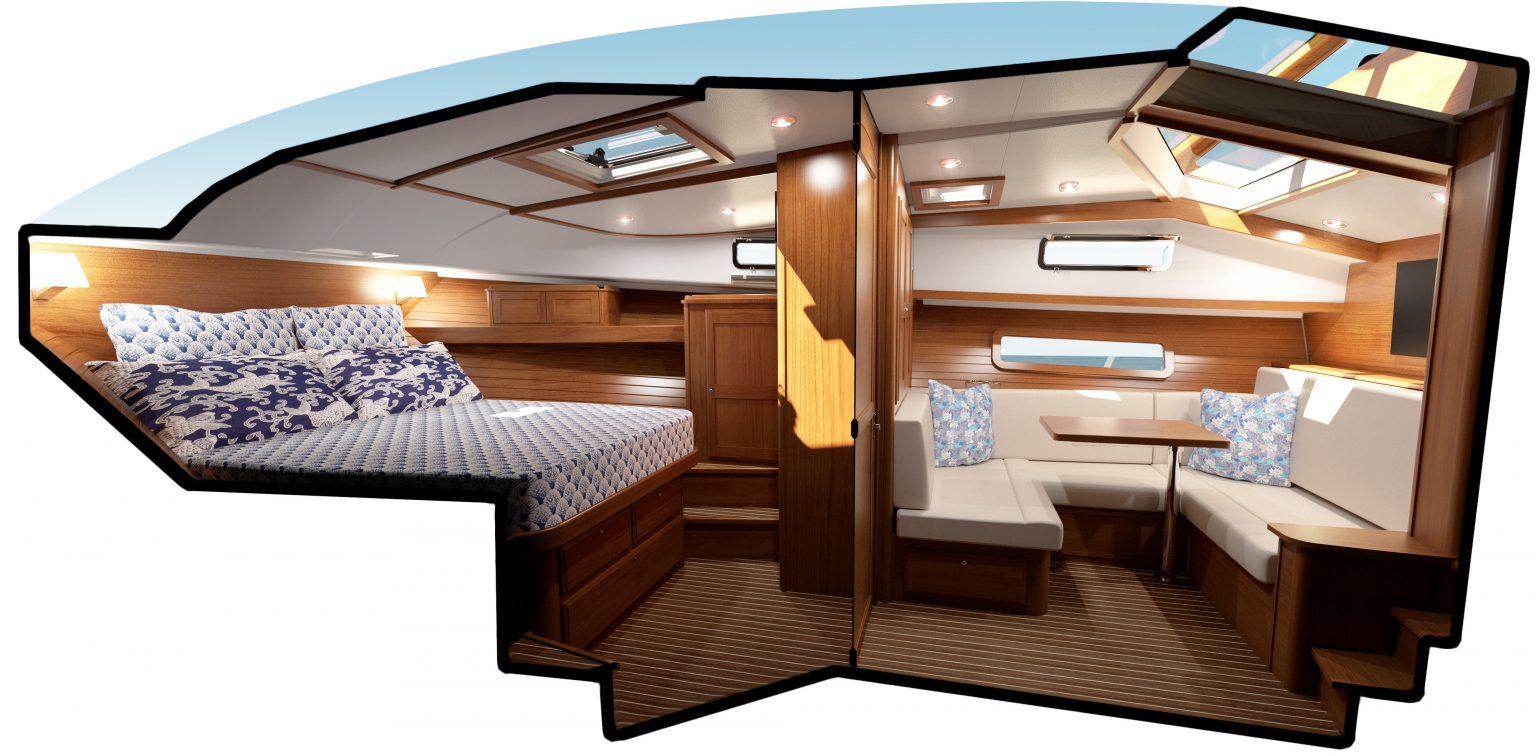 interior shot of the Sabre 43 Salon Express