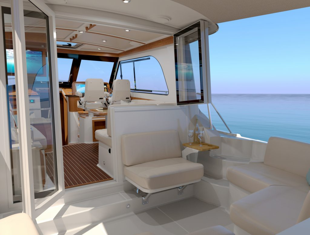 outdoor are onboard the Back Cove 372