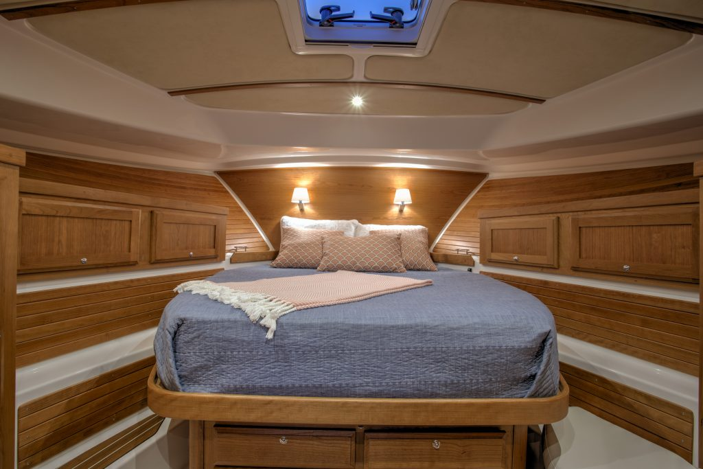 master bedroom onboard the Back Cove 372