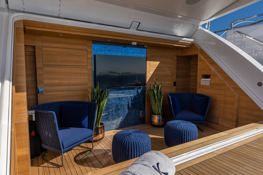 outdoor TV onboard Columbus sport yacht designed by Videoworks