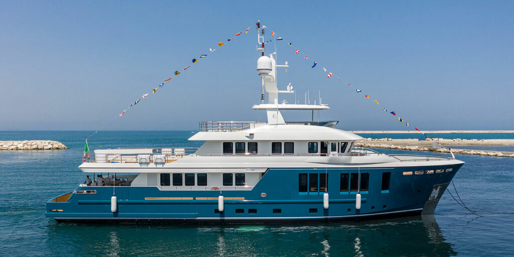 Darwin 115' from Cantiere Delle Marche after being launched side profile