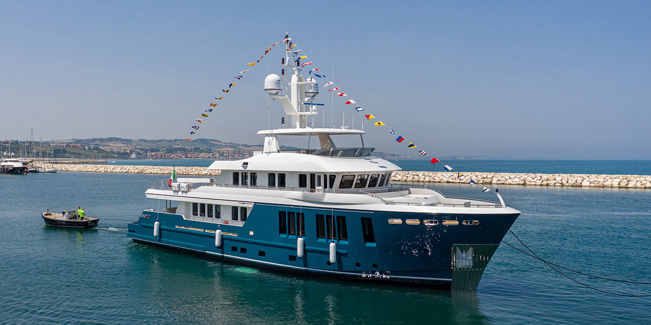 Cantiere Delle Marche Darwin 115' from front after being launched