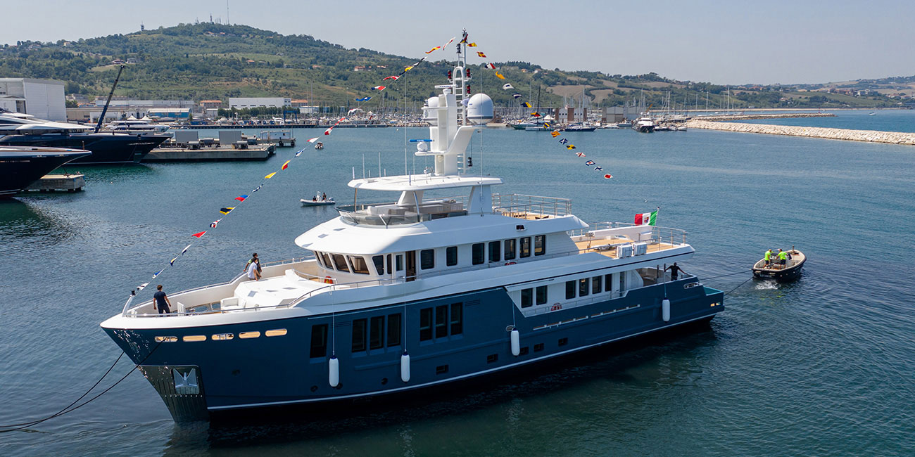 Darwin 115' from Cantiere Delle Marche cruising after launch