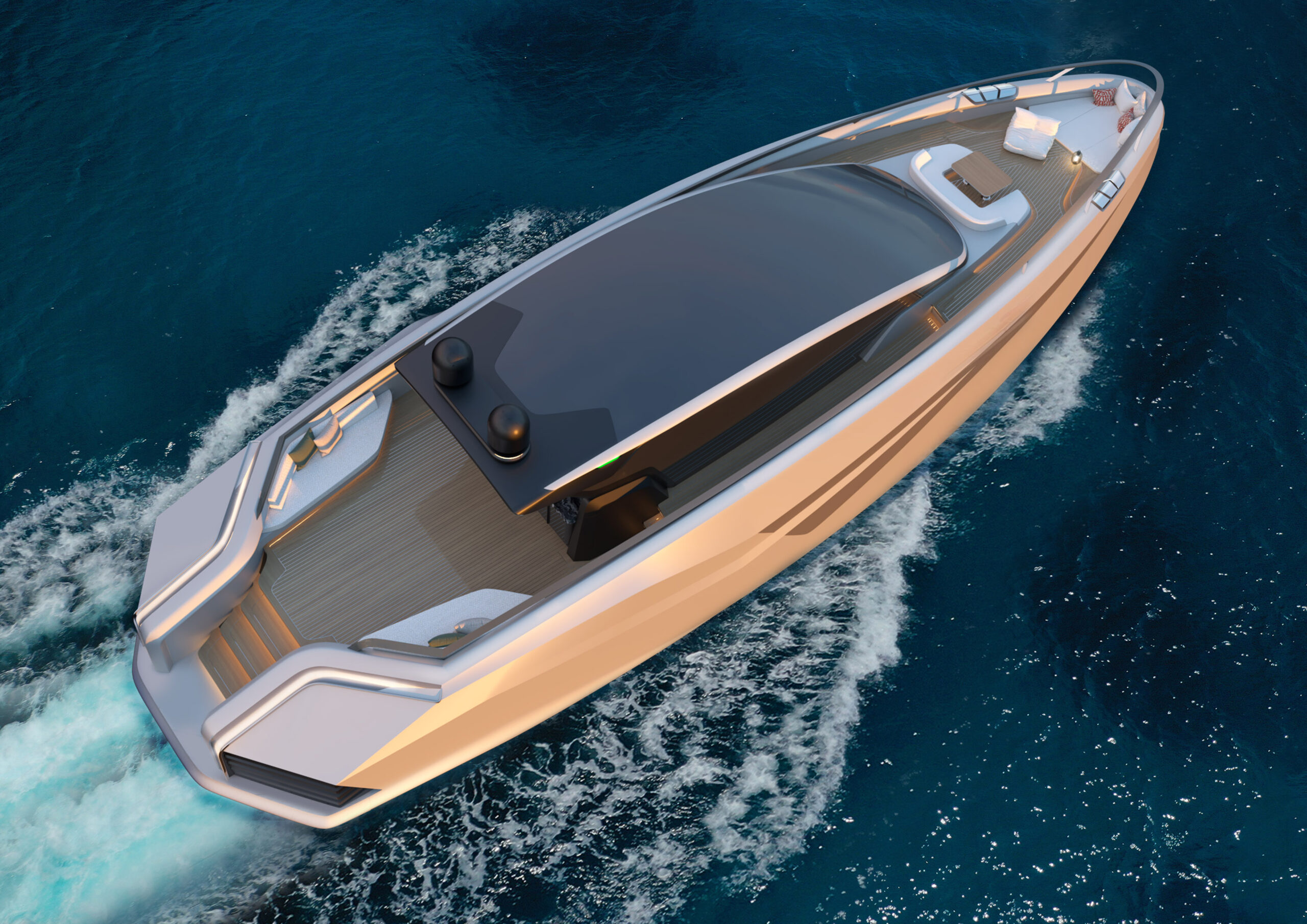 Azurite Yacht Design Infint-e 88 cruising from above