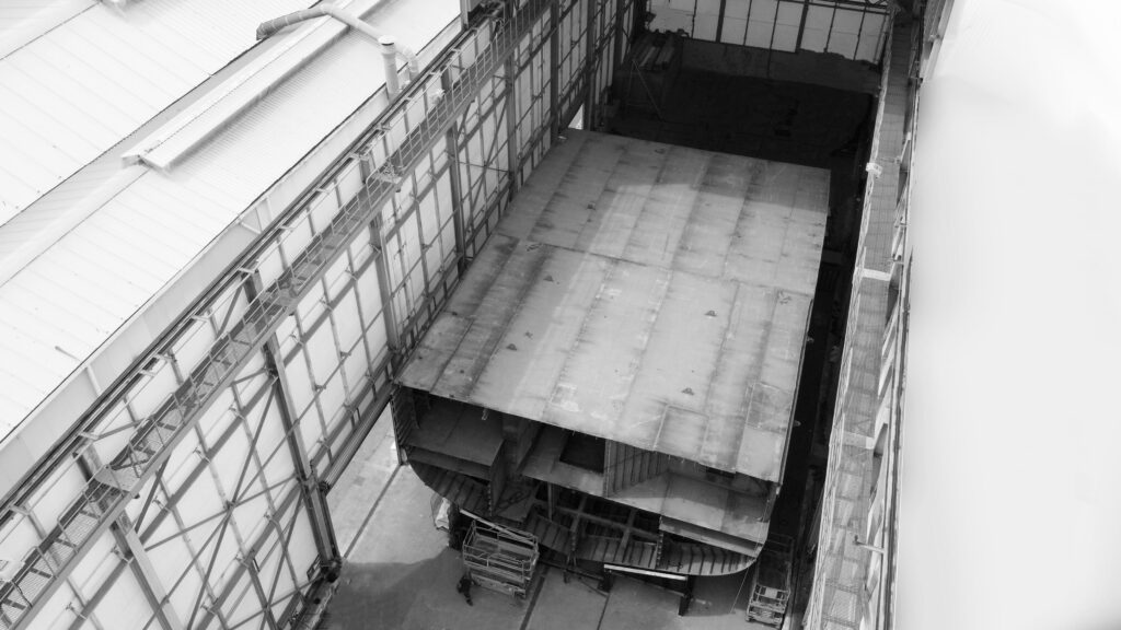 ISA Continental 80m hull under construction in warehouse
