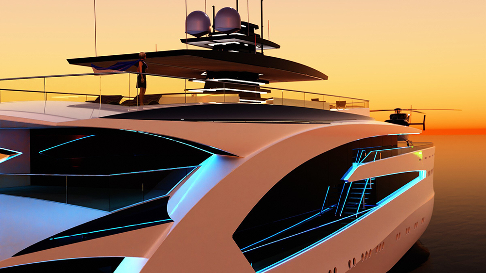 Project Grace close up of top deck at sunset