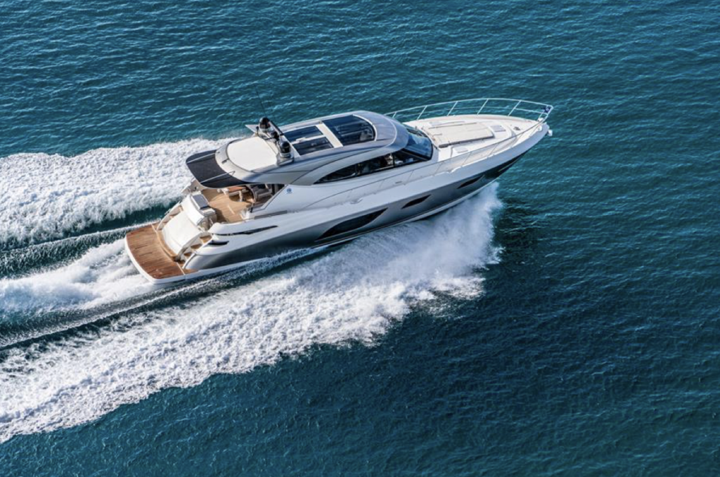 Riviera 6000 sport edition pictured cruising from above