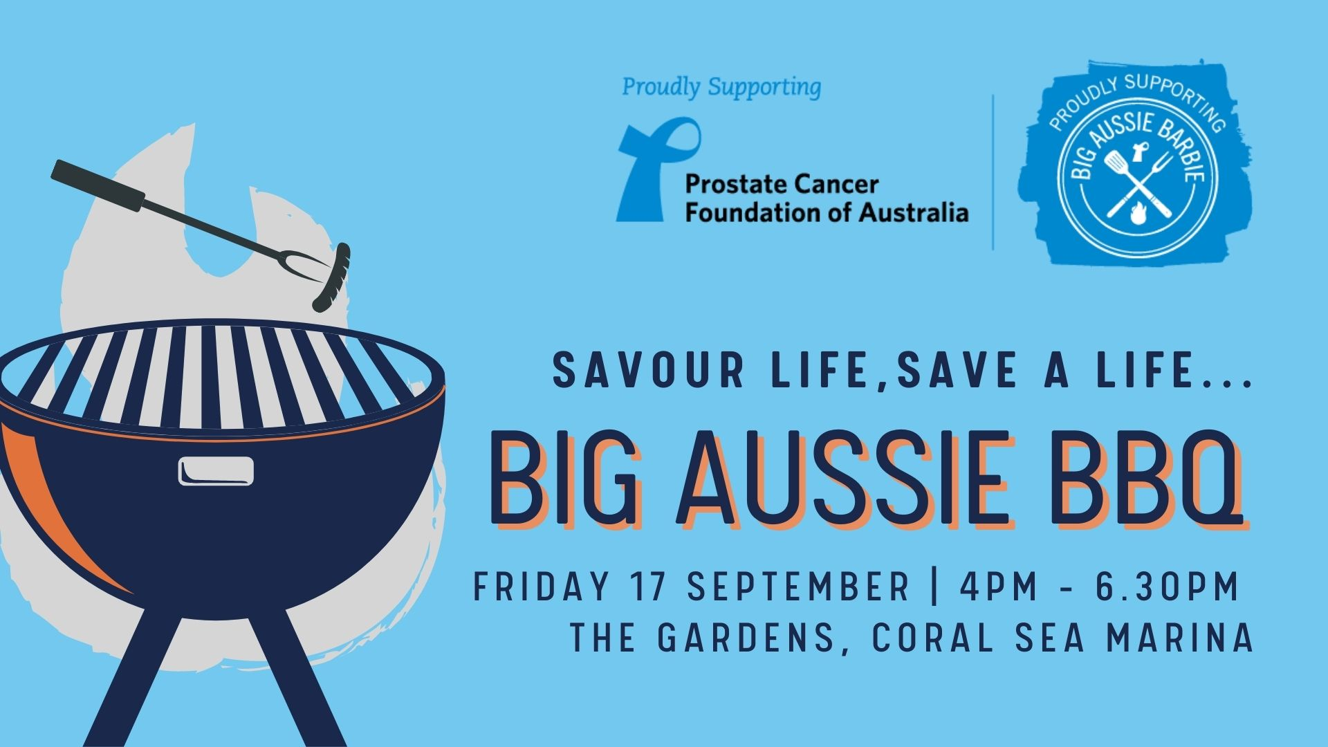 promotional flyer for Big Aussie BBQ event at Coral Sea Marina Resort
