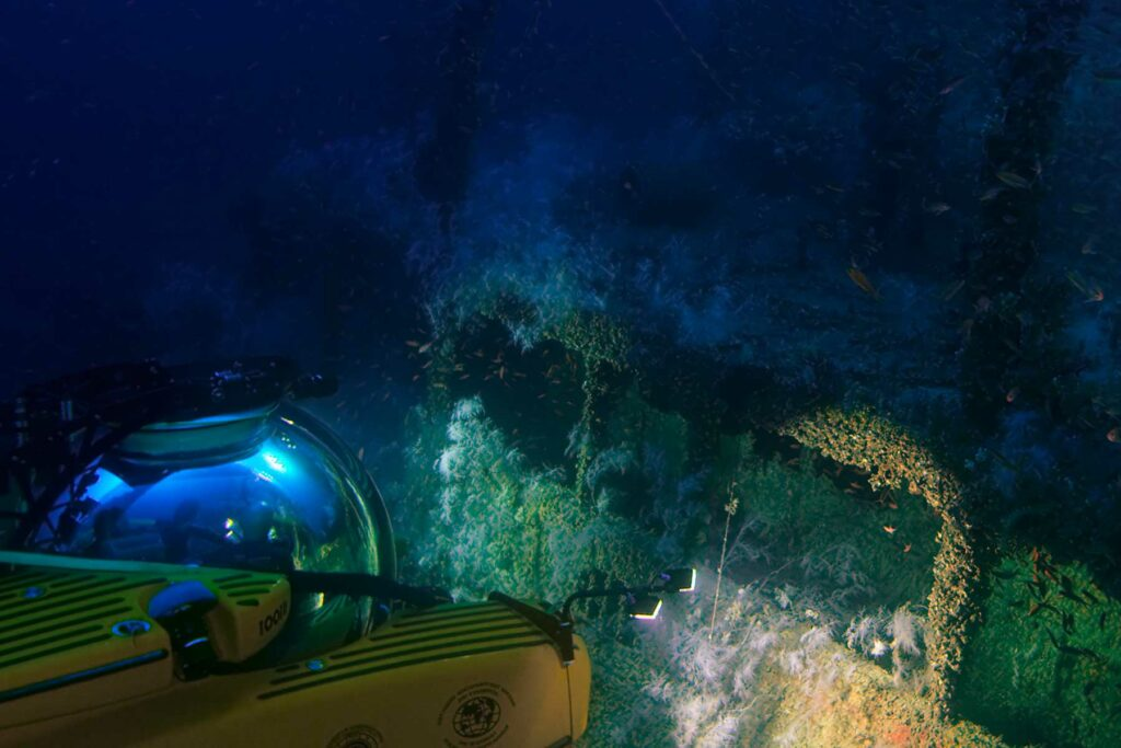 U Boat submersible under the water