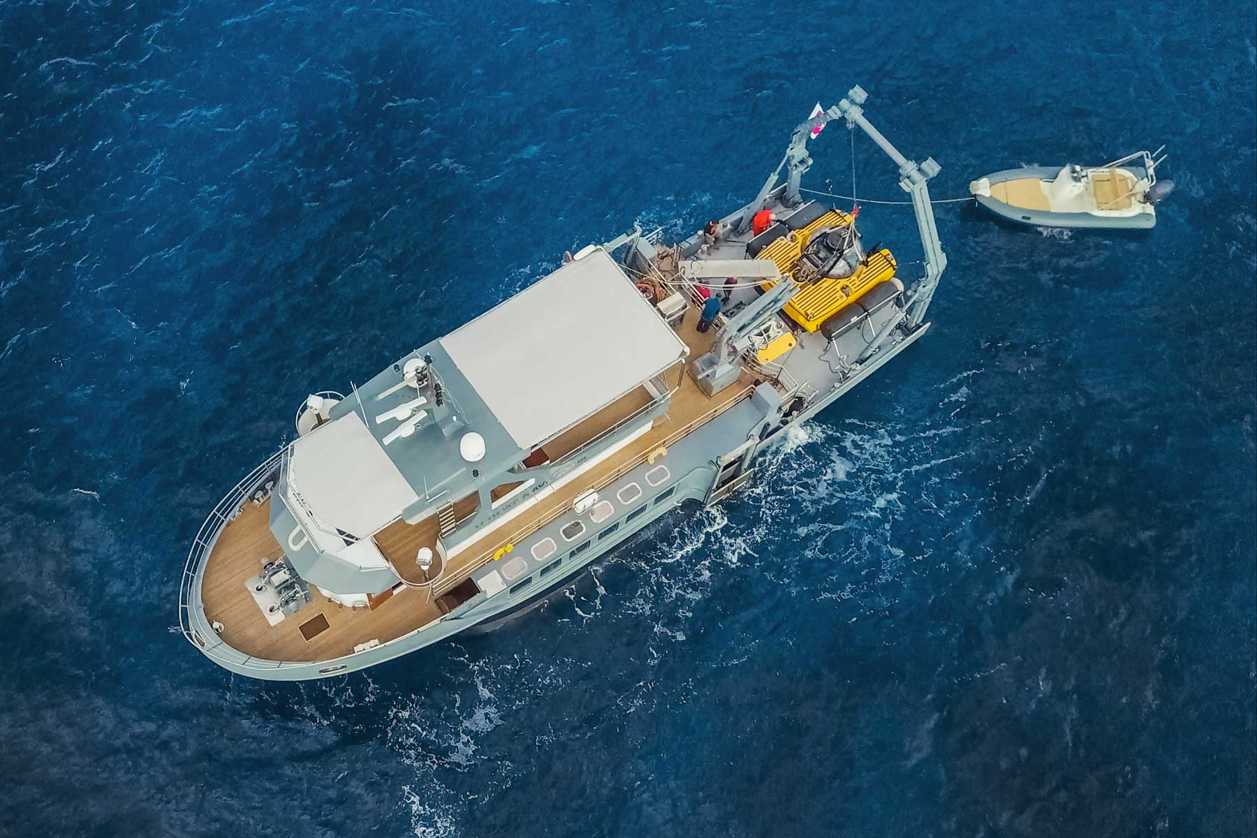 Aerial of Fraser Yachts vessel for underwater exploration
