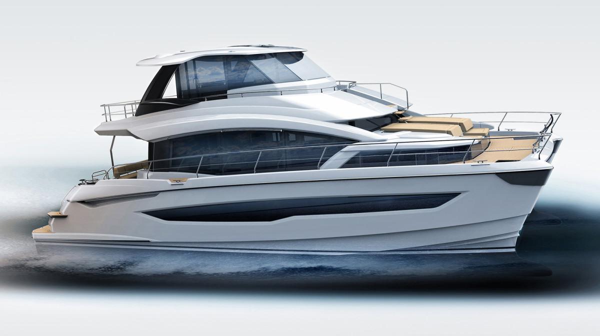 drawing of the Aquila 54 power catamaran