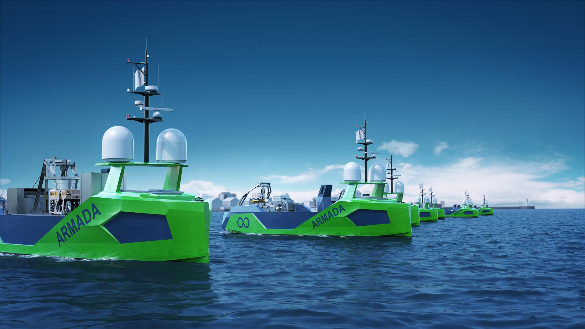 Ocean Infinity Armada fleet cruising
