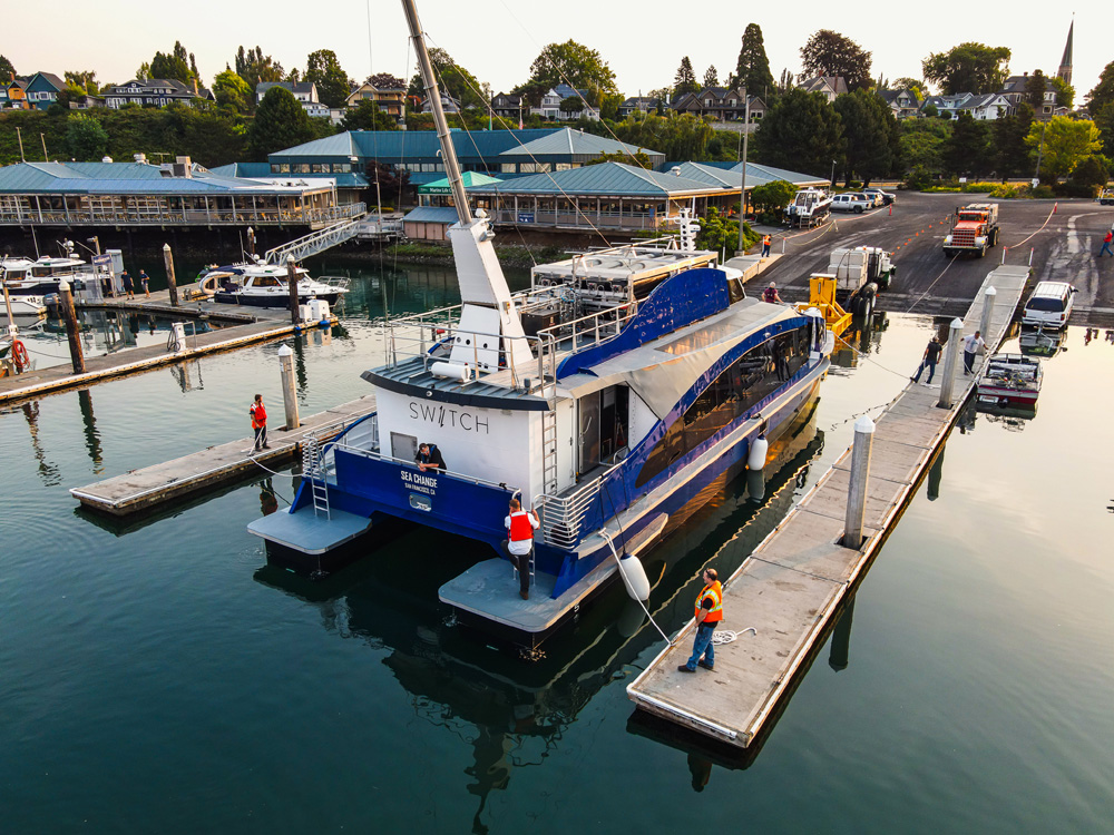 AAM hydrogen powered ferry at dock