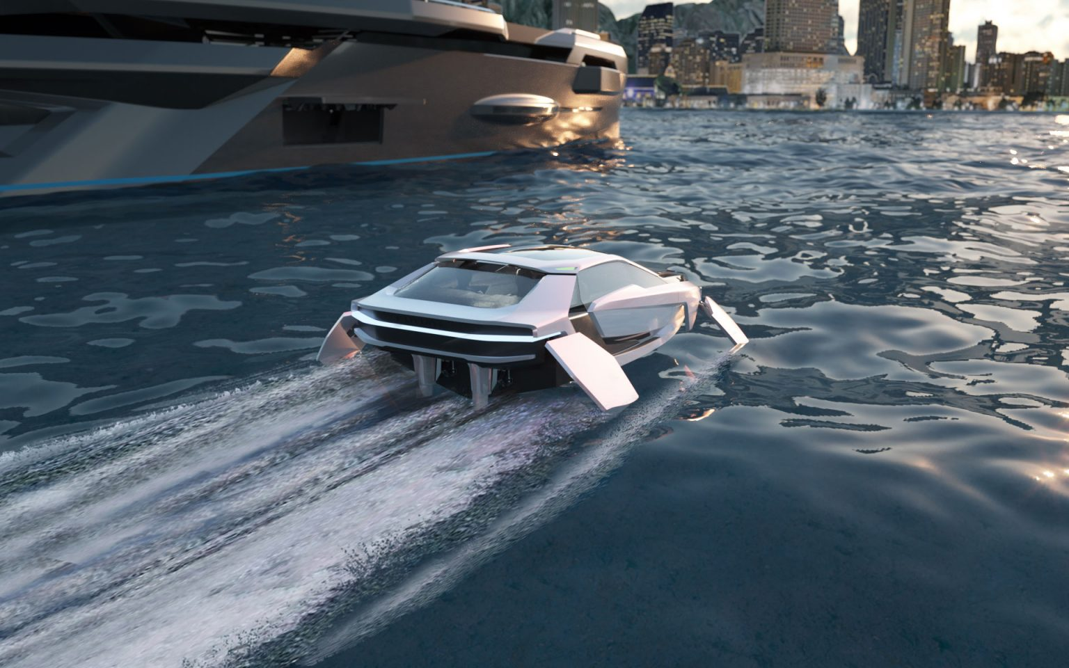 render of Futur-E cruising from rear with yacht in background