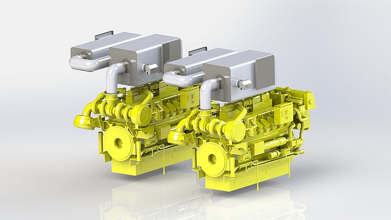 Diagram of green motor yacht engine solution