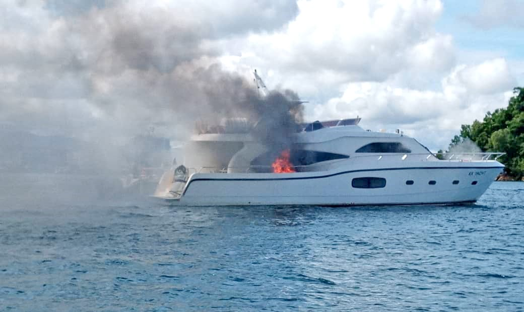 Luxury yacht on fire in Borneo