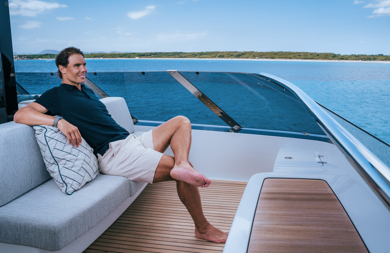 Rafael Nadal relaxing onboard Great White