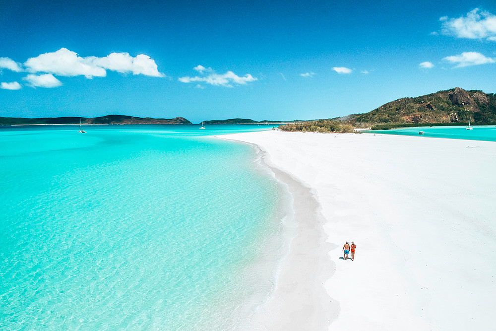 Aerial of beach on the Whitsundays