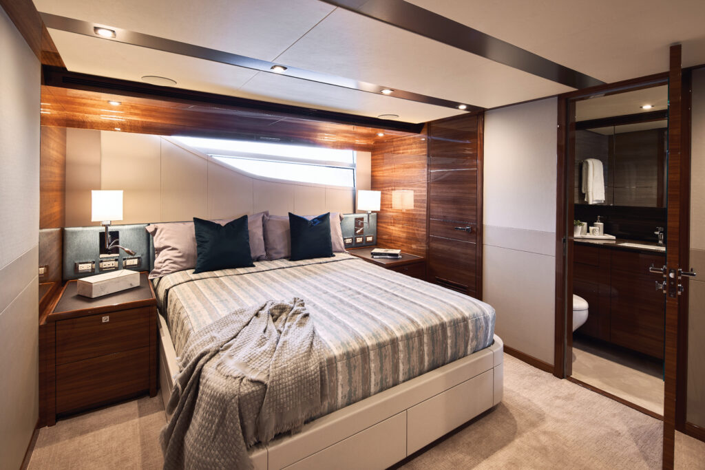 master suite onboard the CL Yachts CLA76