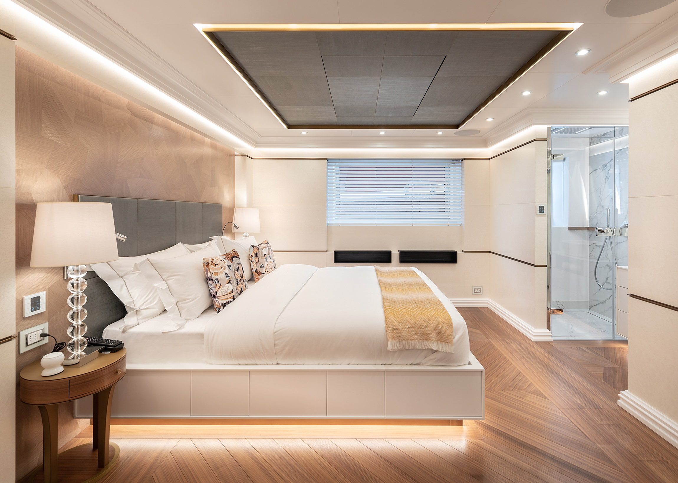 Master suite onboard Fifty Five motor yacht