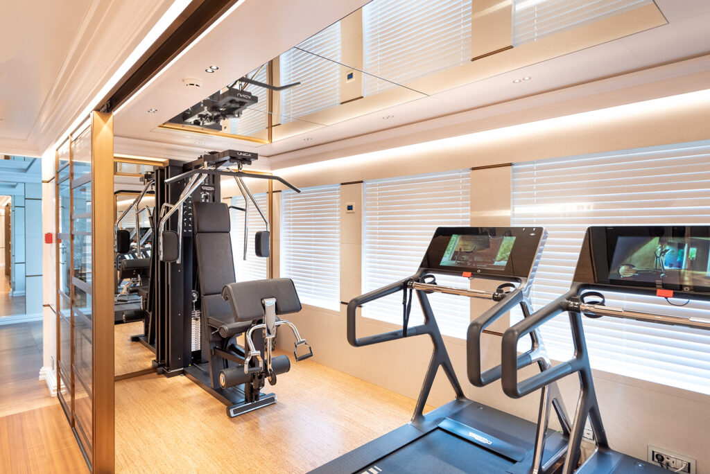 Gym onboard Fifty Five motor yacht